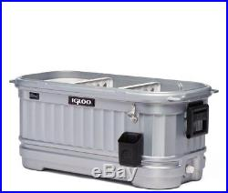 IGLOO Chest Cooler Drinks Beverage Rolling 125 Qt Party Bar Illuminated Silver