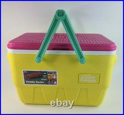 IGLOO The Picnic Basket Throwback Cooler Teal Pink Yellow Handles Retro New