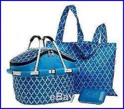 INSULATED PICNIC BASKET WithFREEZER ICE PACK & TWO MATCHING TOTES FROM SACHI