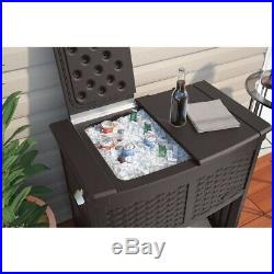 Ice Box Resin Wicker Storage Bottle Opener Rolling Double Lid Water Resistant