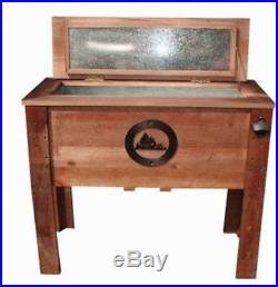 Ice Chest Wooden Quart Party Cooler Deck Patio Cookouts Outdoor Rustic Mountain