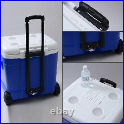 Ice Cube Roller Cooler 60 Quart Durable Wheels Reinforced Tow Handle Blue Ocean