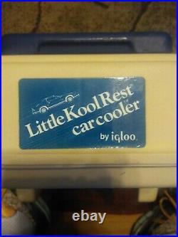 Igloo Little Kool Rest Car Cooler (Navy Blue/ Off White) Vintage Cooler