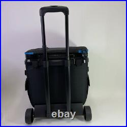 Igloo MaxCold Cooler Bag Gray Blue Rolling Wheels Mesh Side Pouches 36 Cans New