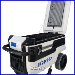 Igloo Trailmate Marine Wheeled Cooler, White/Black/White/Chrome, 70 quart