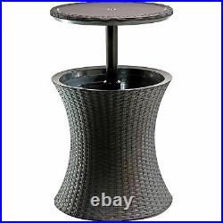 Keter 228573 Cool Bar Outdoor Patio Cocktail and Side Table with Cooler, Brown
