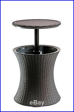 Keter 7.5-Gal Cool Bar Rattan Style Outdoor Patio Pool Cooler Table Brown
