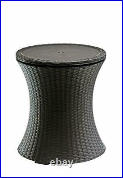 Keter 7.5-Gal Cool Bar Rattan Style Outdoor Patio Pool Cooler Table GREY COLOR