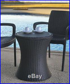 Keter 7.5-Gal Cool Bar Rattan Style Outdoor Patio Pool Ice Cooler Table Brown