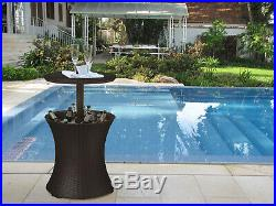 Keter 7.5 Gallon Cool Bar Rattan Style Outdoor Patio Pool Ice Cooler Table Brown