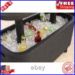 Keter Bevy Bar Table And Coolers Combo Durable Weatherproof, UV-Protected Resin