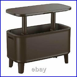 Keter Breeze Bar 17 Gallon Cooler with Pop-Up Table Top Bar Cart, Espresso Brown