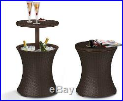 Keter Cool Bar Rattan Style Outdoor Patio Pool Cooler Convert Table 7.5 Gal