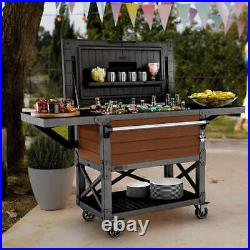 Keter Patio Cooler and Beverage Cart 89.8q / 85l Capacity Cooling Chest Camping