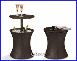 Keter Rattan Bar Patio Deck Pool Side Cooler Brown Cocktail Table Ice Chest BBQ