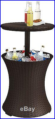 Keter Rattan Cooler Pool Patio Deck Backyard Apartment Party Bar Cocktail Table