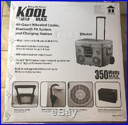 KoolMax Rechargeable Portable 350W Bluetooth Speaker 40 Qt Cooler (Red) NIB