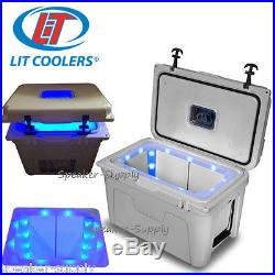 LIT Grey 52 Qt Quart Torch Cooler with Blue LED Lighted Liner Ice Chest Camp TS600