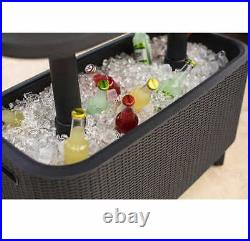 Large Bevy Bar Table and Cooler Combo Durable Weatherproof UV-Protected Resin
