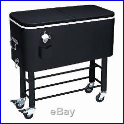 Large Capacity Party Cooler Rolling Ice Chest Patio Deck Bottle Opener Can Drink