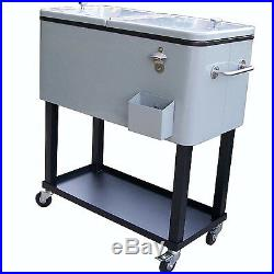 Large Rolling Patio Cooler Cart Party Size Bottle Outdoor Deck Back Yard Steel