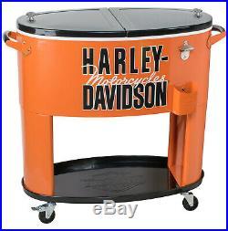 Licensed Harley-Davidson 80 Quart Orange Rolling Party Cooler HDL-10073
