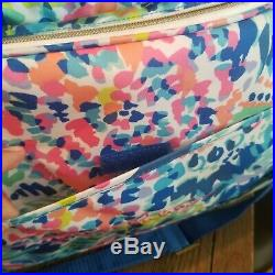 Lilly Pulitzer Cooler Picnic Pack Bag Wine Cups Glasses Plates Blue Ice Chest