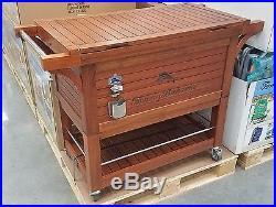 Mahogany / Teak / Eucalyptus Wood Rolling Party Cooler Tommy Bahama