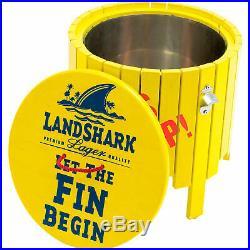 Margaritaville Landshark Wood Side Table Cooler Fins Up