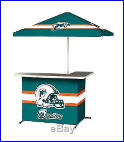 Miami Dolphins All-Weather Tailgate Patio Bar Umbrella Drink Cooler Wheeled Case