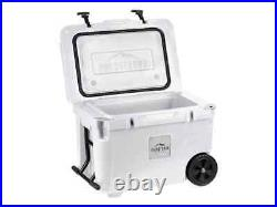 Monoprice Portable Wheeled 50 Liter Cooler White Outdoor Picnic With Bottle Opener