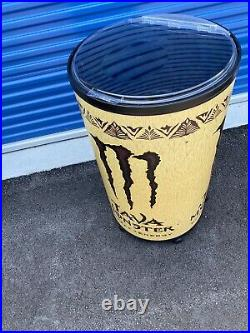 Monster Java Energy Ice Barrel Cooler Pre Owned Rolling Rare Hard To Find