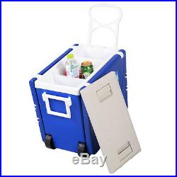 Multi Function Rolling Cooler Picnic Camping Outdoor with Table & 2 Chairs Blue