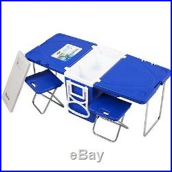 Multi Function Rolling Picnic Cooler With Table And 2 Chairs Camping Outdoor New
