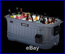NEW HUGE ROLLING IGLOO PARTY BAR COOLER LED LIGHT 125 QUART PATIO ICE CHEST CAN