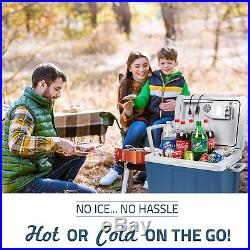 NEW Hard Blue Travel Electric Cooler & Warmer with Built In Plug Food & Drink