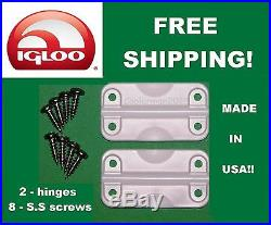 NEW Igloo 2 PK Cooler Replacement Plastic Hinges 24012 With 8 SS Screws