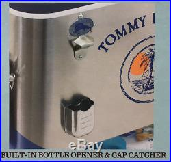 NEW Large Tommy Bahama 100 Quart Stainless Rolling Party Cooler Patio Ice Chest