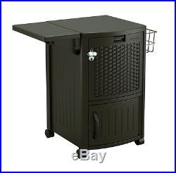 NEW Plastic Rolling Cooler 77qt Ice Beverage Patio Wicker Outdoor Durable Fridge