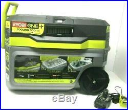 NEW RYOBI 18V COOLING COOLER P3370 (MISSING FINS ON VENT) + Battery & Charger
