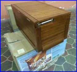 NEW Tommy Bahama 130 Can Cooler 100 Quart Rolling Cooler Eucalyptus Wood READ