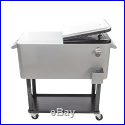 New 80QT Portable Rolling Stainless Steel Party Cooler Cart Ice Chest Patio