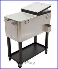 New Big Stainless Steel 80 Quart Party Cooler Rolling Catering Ice Box Chest