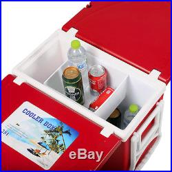 New Multi Function Rolling Cooler Picnic Camping Outdoor with Table & 2 Chairs Red