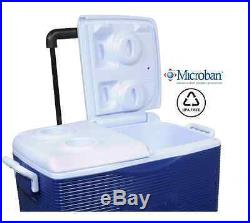 New Rubbermaid 45 Quart Wheeled Cooler Ice Chest Camping Outdoor
