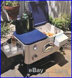 New Tommy Bahama Rolling Stainless Steel Party Cooler 100 Quart