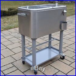 Oakland Living 60 Quart Party Cooler Cart, Stainless Steel
