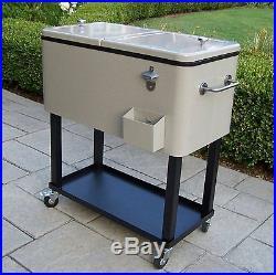 Oakland Living 80-Quart Steel Patio Beverage Cooler Press-Down Large Cart NEW