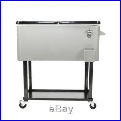 Outdoor 80QT Portable Rolling Party Cooler Cart Ice Chest Patio Iron Spray Gro