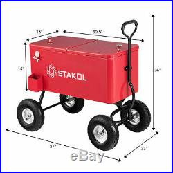 Outdoor 80QT Portable Rolling Party Wagon Cooler Drink Ice Chest Patio Cart